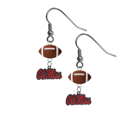 Mississippi Rebels NCAA Football Dangle Earrings