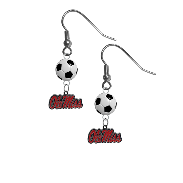 Mississippi Rebels NCAA Soccer Dangle Earrings