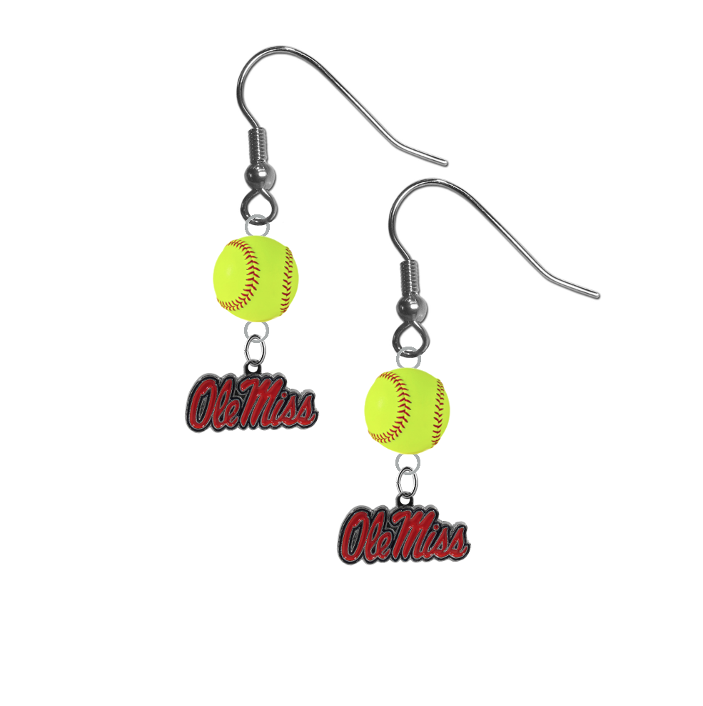Mississippi Rebels NCAA Fastpitch Softball Dangle Earrings
