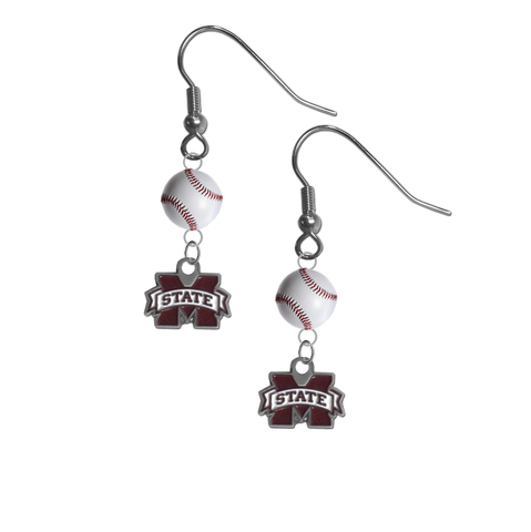 Mississippi State Bulldogs NCAA Baseball Dangle Earrings