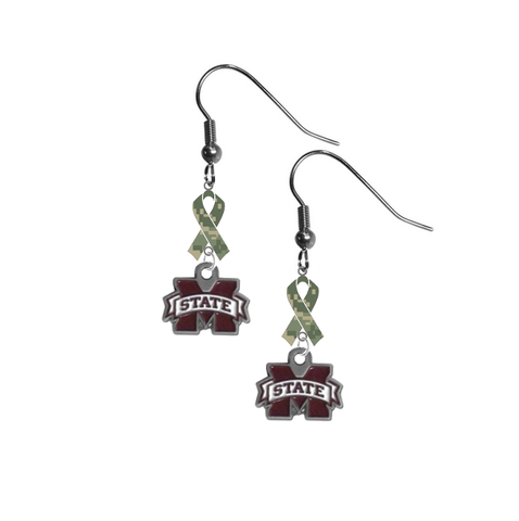 Mississippi State Bulldogs Salute to Service Camouflage Camo Ribbon Dangle Earrings