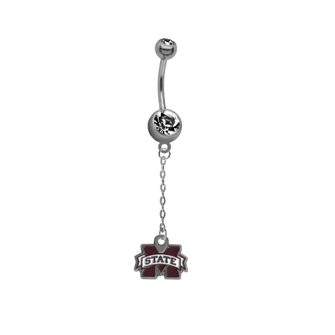 Mississippi State Bulldogs Dangle Chain Belly Button Navel Ring