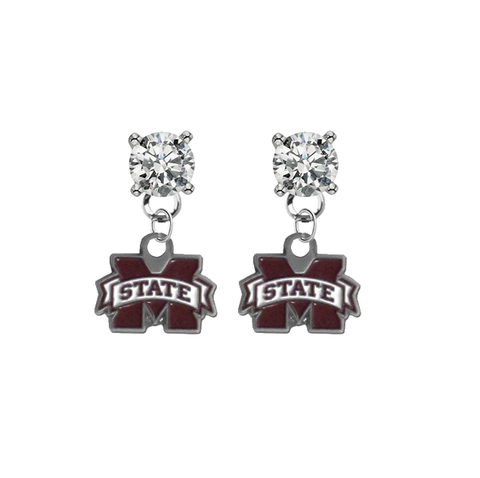Mississippi State Bulldogs CLEAR Swarovski Crystal Stud Rhinestone Earrings