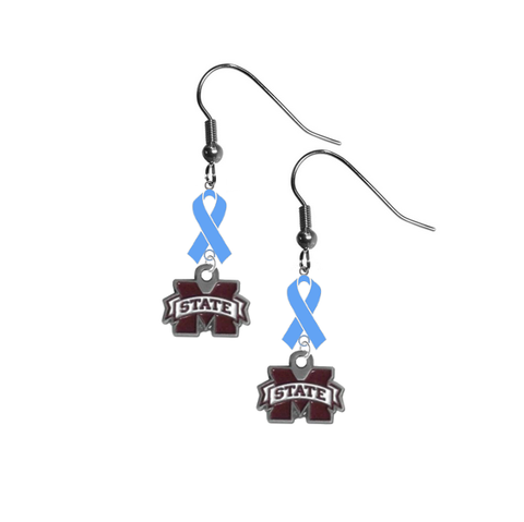Mississippi State Bulldogs Prostate Cancer Awareness Light Blue Ribbon Dangle Earrings