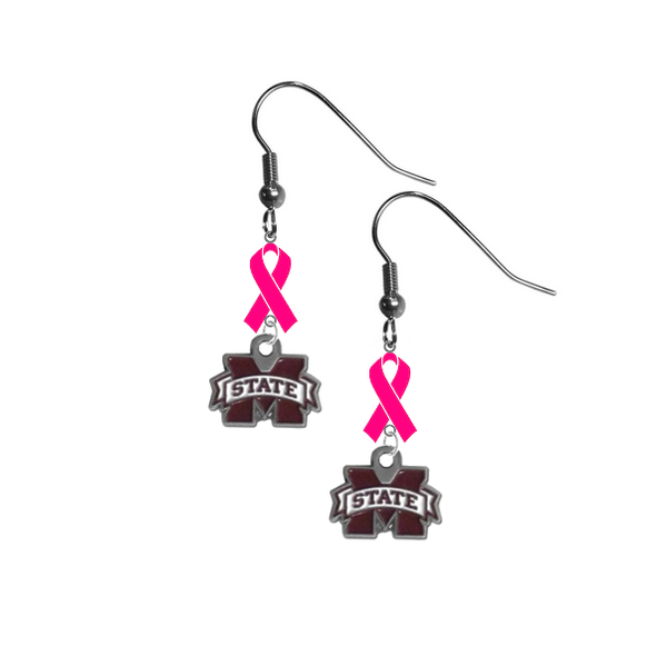 Mississippi State Bulldogs Breast Cancer Awareness Hot Pink Ribbon Dangle Earrings