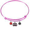 Mississippi State Bulldogs PINK Expandable Wire Bangle Charm Bracelet