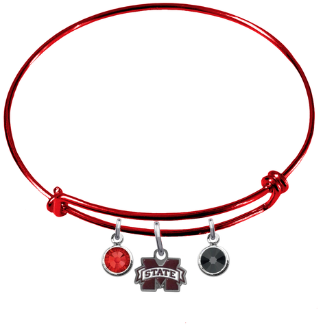 Mississippi State Bulldogs RED Expandable Wire Bangle Charm Bracelet