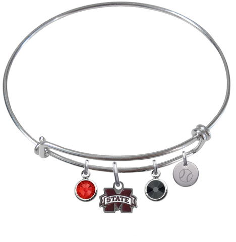 Mississippi State Bulldogs Baseball Expandable Wire Bangle Charm Bracelet