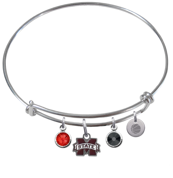 Mississippi State Bulldogs Basketball Expandable Wire Bangle Charm Bracelet