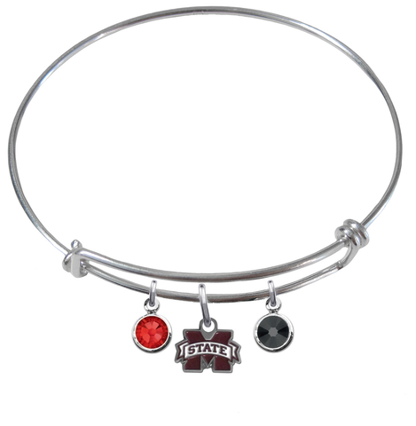 Mississippi State Bulldogs NCAA Expandable Wire Bangle Charm Bracelet