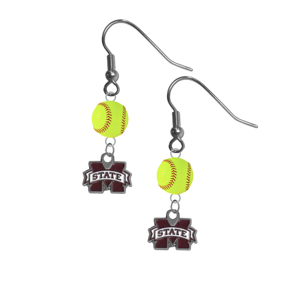 Mississippi State Bulldogs NCAA Fastpitch Softball Dangle Earrings