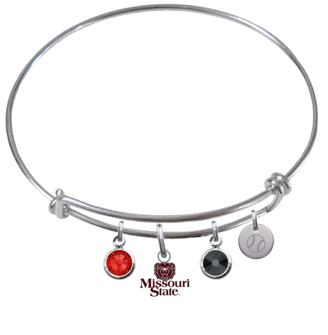 Missouri State Bears Baseball Expandable Wire Bangle Charm Bracelet