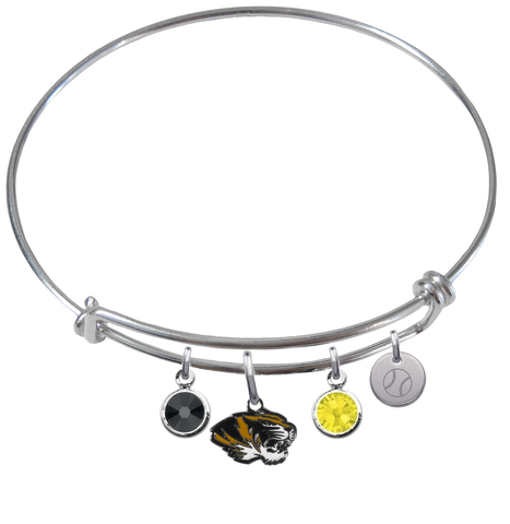 Missouri Tigers Baseball Expandable Wire Bangle Charm Bracelet
