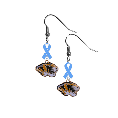 Missouri Tigers Prostate Cancer Awareness Light Blue Ribbon Dangle Earrings