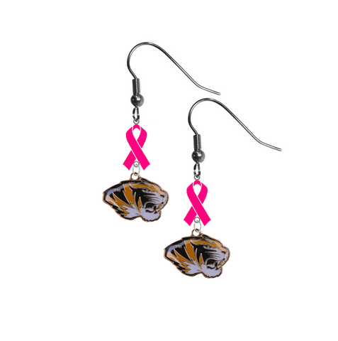 Missouri Tigers Breast Cancer Awareness Hot Pink Ribbon Dangle Earrings