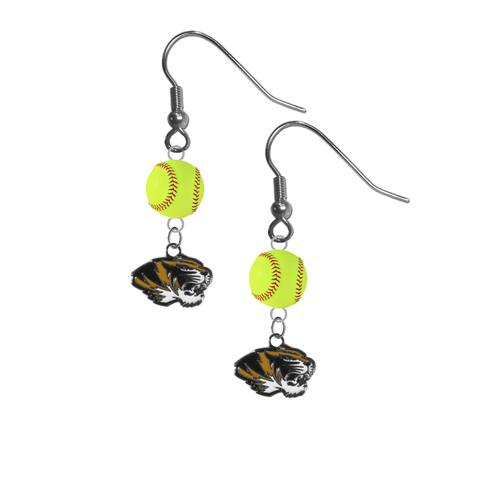 Missouri Tigers NCAA Fastpitch Softball Dangle Earrings