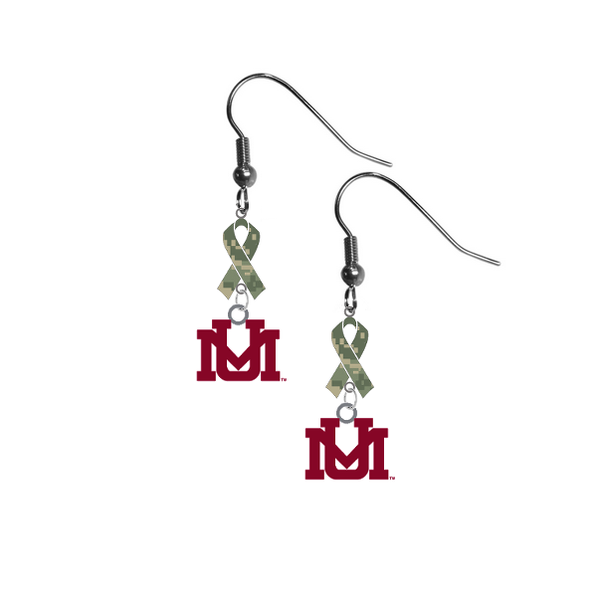 Montana Grizzlies Salute to Service Camouflage Camo Ribbon Dangle Earrings
