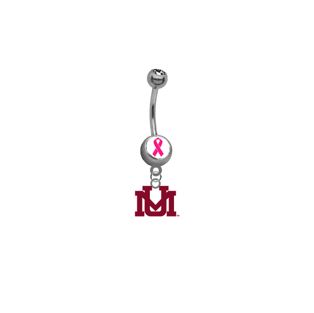 Montana Grizzlies Breast Cancer Awareness Belly Button Navel Ring