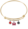 Montana Grizzlies GOLD Color Edition Expandable Wire Bangle Charm Bracelet