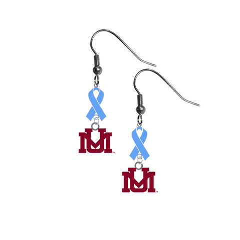 Montana Grizzlies Prostate Cancer Awareness Light Blue Ribbon Dangle Earrings