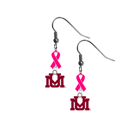 Montana Grizzlies Breast Cancer Awareness Hot Pink Ribbon Dangle Earrings