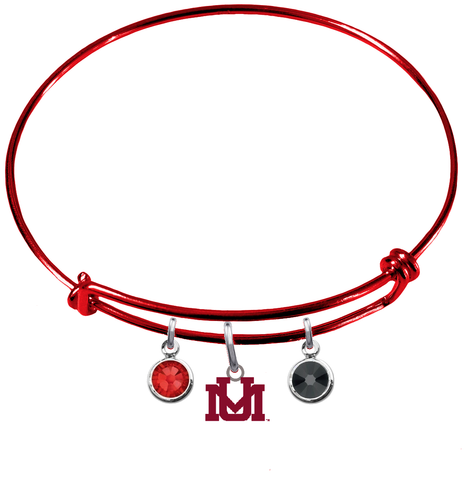 Montana Grizzlies RED Color Edition Expandable Wire Bangle Charm Bracelet
