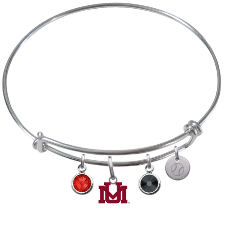 Montana Grizzlies Baseball Expandable Wire Bangle Charm Bracelet