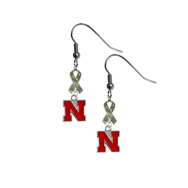 Nebraska Cornhuskers Salute to Service Camouflage Camo Ribbon Dangle Earrings