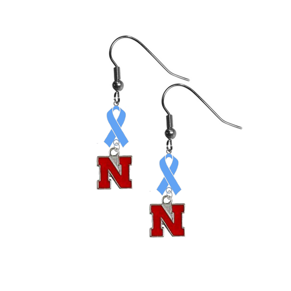 Nebraska Cornhuskers Prostate Cancer Awareness Light Blue Ribbon Dangle Earrings