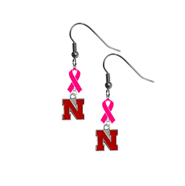 Nebraska Cornhuskers Breast Cancer Awareness Hot Pink Ribbon Dangle Earrings