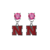 Nebraska Cornhuskers PINK Swarovski Crystal Stud Rhinestone Earrings