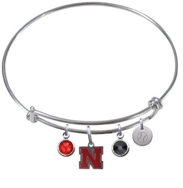 Nebraska Cornhuskers Baseball Expandable Wire Bangle Charm Bracelet