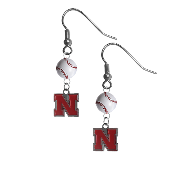 Nebraska Cornhuskers NCAA Baseball Dangle Earrings