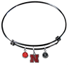 Nebraska Cornhuskers BLACK Color Edition Expandable Wire Bangle Charm Bracelet