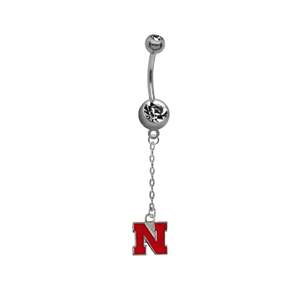Nebraska Cornhuskers Dangle Chain Belly Button Navel Ring