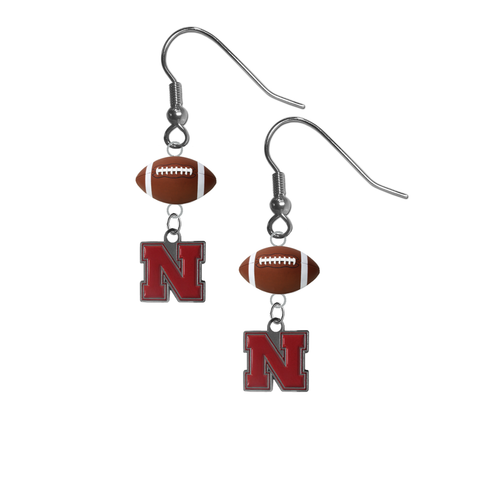 Nebraska Cornhuskers NCAA Football Dangle Earrings
