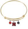 Nebraska Cornhuskers GOLD Color Edition Expandable Wire Bangle Charm Bracelet