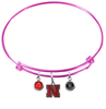 Nebraska Cornhuskers PINK Color Edition Expandable Wire Bangle Charm Bracelet