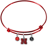 Nebraska Cornhuskers RED Color Edition Expandable Wire Bangle Charm Bracelet