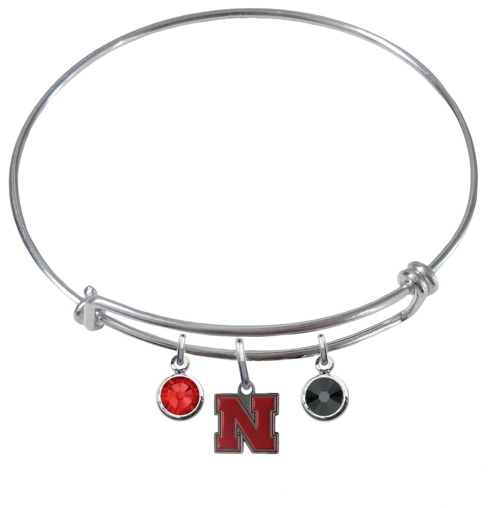 Nebraska Cornhuskers NCAA Expandable Wire Bangle Charm Bracelet