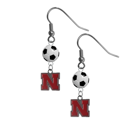 Nebraska Cornhuskers NCAA Soccer Dangle Earrings