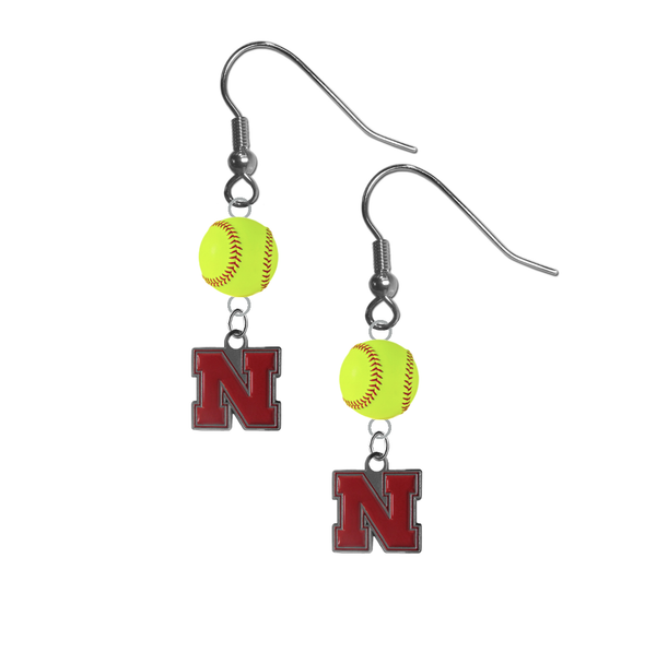 Nebraska Cornhuskers NCAA Fastpitch Softball Dangle Earrings