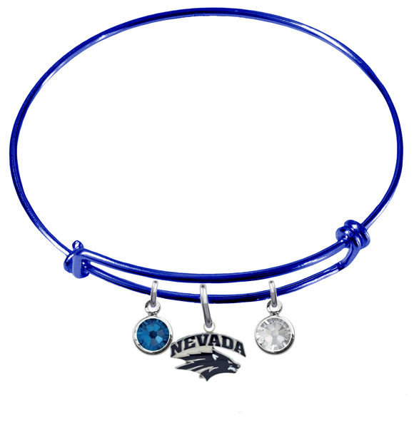fd9032e1f Nevada Wolf Pack BLUE Color Edition Expandable Wire Bangle Charm Bracelet