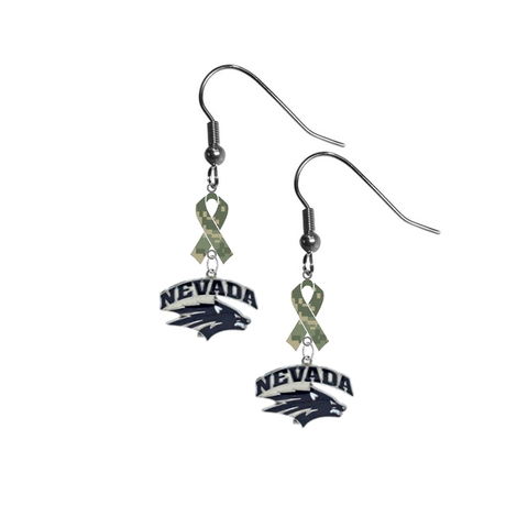 Nevada Wolf Pack Salute to Service Camouflage Camo Ribbon Dangle Earrings