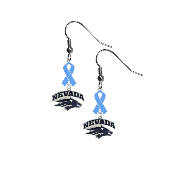 Nevada Wolf Pack Prostate Cancer Awareness Light Blue Ribbon Dangle Earrings