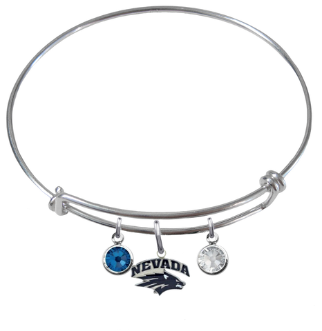 Nevada Wolf Pack NCAA Expandable Wire Bangle Charm Bracelet