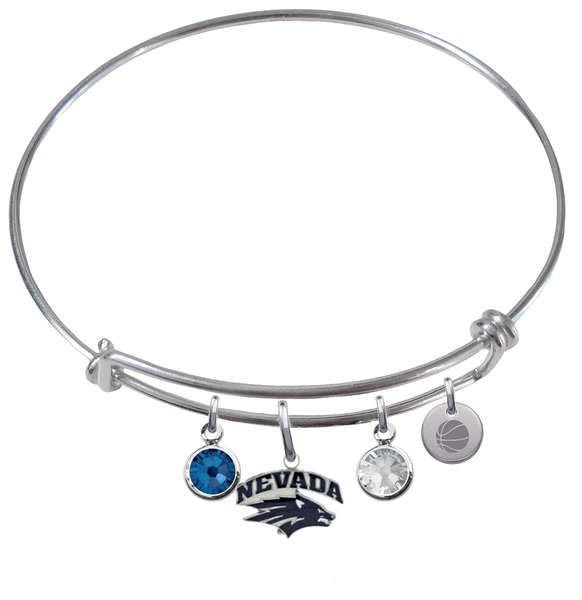 Nevada Wolfpack Basketball Expandable Wire Bangle Charm Bracelet