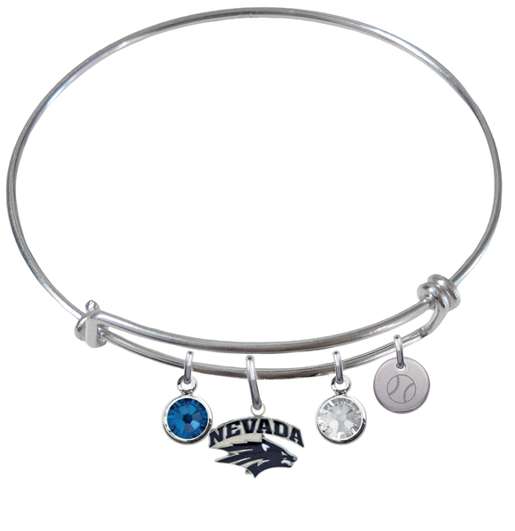 Nevada Wolfpack Baseball Expandable Wire Bangle Charm Bracelet