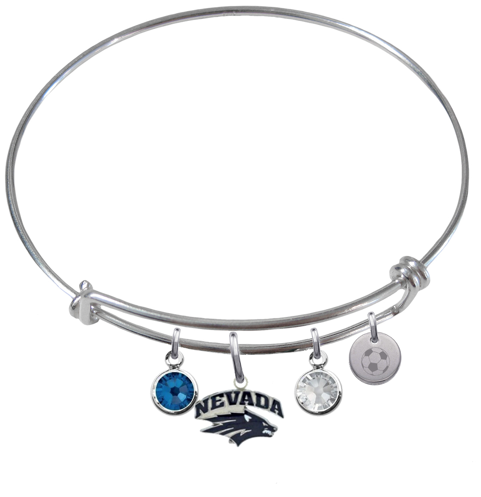 Nevada Wolfpack Soccer Expandable Wire Bangle Charm Bracelet