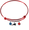 New England Patriots Red NFL Expandable Wire Bangle Charm Bracelet